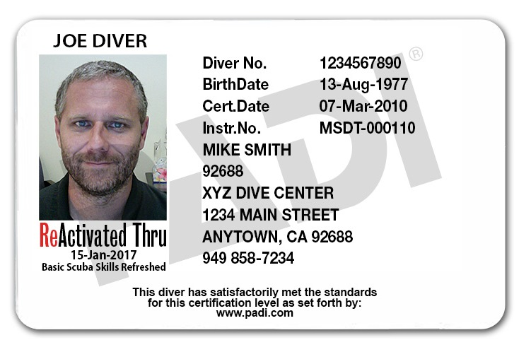scuba padi certification dive card reactivate diver tune course water refresher sands learn skills training replacement enroll